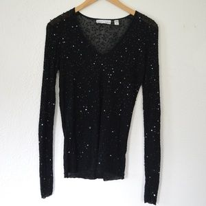 White House Black Market Sequin Long Sleeve Top